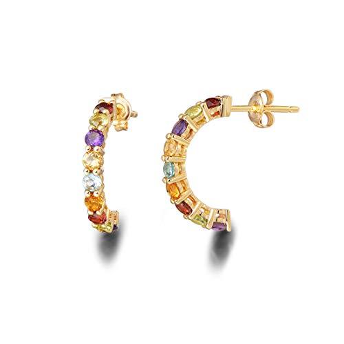 FANCIME 18k Solid Yellow Gold Rainbow Multicolor Gemstones Peridot/Citrine/Sapphire/Garnet/Topaz/Amethyst Half Hoop Earrings For Women Girls