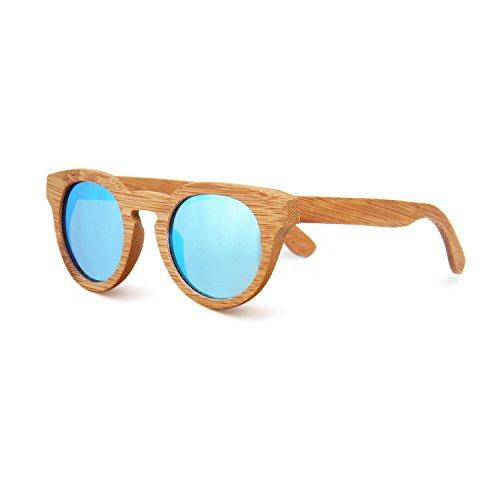 SUKUTU de soleil Lunettes unique Bamboo Taille Blue Homme q6qHrwF