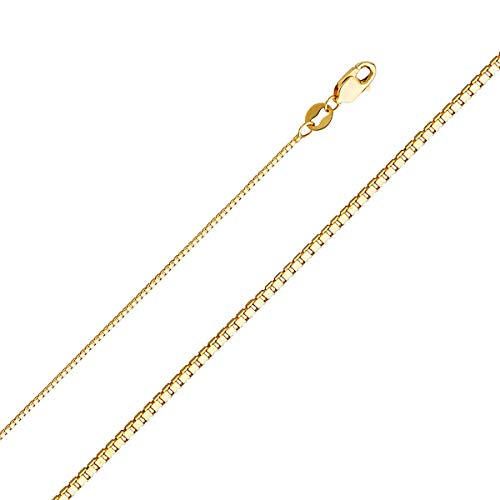 - TGDJ 14k Yellow OR White Gold Solid 0.9mm Box Link Chain Necklace with Lobster Claw Clasp (Yellow, 20.00)