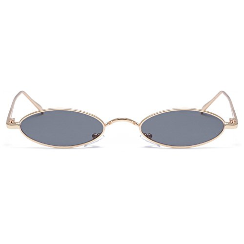 Gobiger Fashion Small Frame Sunglasses Designer Oval Shades for Women Men (Gold Frame/Grey - Slim Shades
