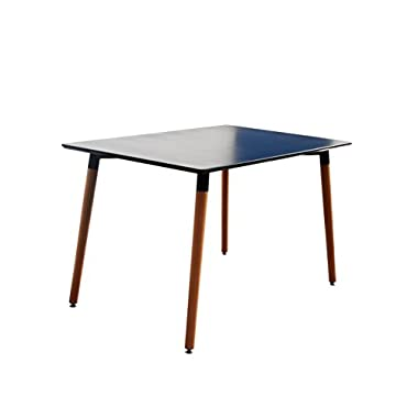 Modern Small Space Dining Table with Natural Wood Legs (Black)