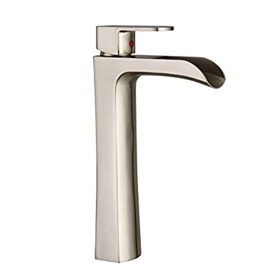 BWE Tall Brushed Nickel Bathroom Sink Vessel Faucet Mixer Tap