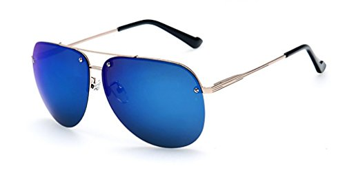 Premium Full Mirrored Aviator Sunglasses w/ Flash Mirror Lens Uv400 (Gold, - Half Frame Sunglasses Aviator
