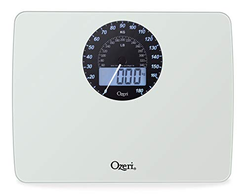 Ozeri Rev Digital Bathroom Scale with Electro-Mechanical Weight Dial, White