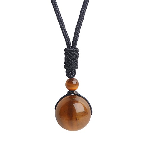 iSTONE Unisex Genuine Round Gemstone Beads Pendant Necklace Black Rope Chain 25 inch (Tiger - Genuine Necklace Rose Quartz
