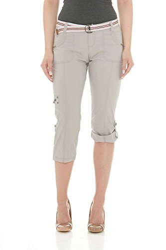 Suko Women Cargo Pants Adjustable Capri 17773 Grey 4