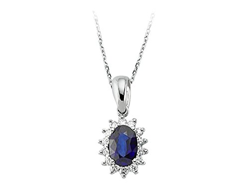 Pendentif Saphir Ovale et Diamants-Femme- or Blanc 217P0031