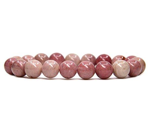 Amandastone Natural Pink Rhodonite Genuine Semi-Precious Gemstones Healing 10mm Beaded Stretch Bracelet 7