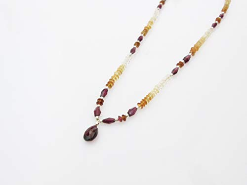 (Natural Garnet & Citrine Beaded Jewelry Necklace Strand with Sterling Silver Findings 16