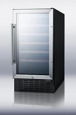 Summit SWC1840 Wine Chiller Beverage Refrigerator, Glass/Black