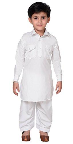 (Boys Shirt Collar Pathani Style Kurta Shalwar Kameez Set 937 (2 (2 yrs), White))