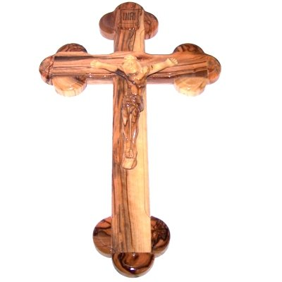 Top quality Olive Wood Crucifix From Bethlehem - the Holy Land 14 inches long - Large