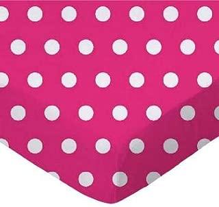 product image for SheetWorld FLAT Crib / Toddler Sheet - Polka Dots Hot Pink - Made In USA