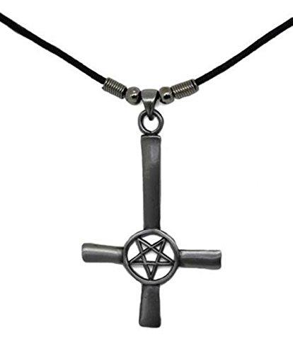 Upside Down Cross with Pentagram Pendant Necklace