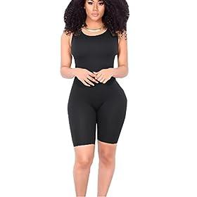 Icooltech Women Casual Sleeveless Bodycon Romper Jumpsuit Club Bodysuit Short Pants M Black