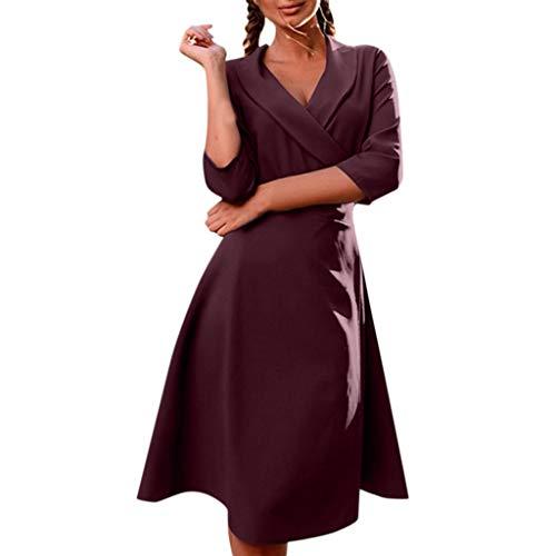 - FEDULK Womens Solid Colour Dress Turn-Down Collar V Neck Long Sleeve Tie Casual Jacket Autumn Dress(Purple, Small)