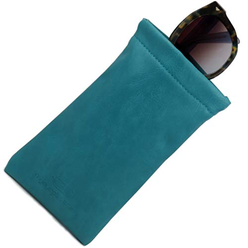 (Soft Sunglasses case | Large eyeglass Case,Squeeze Top glasses case (CT8 Turquoise) )