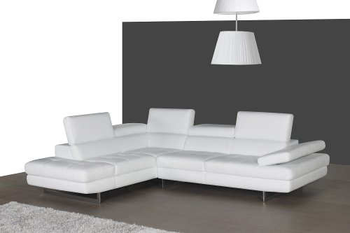 J and M Furniture 178551-LHFC A761 Italian Leather Sectional White