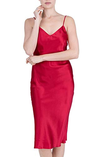 OSCAR ROSSA Women's Luxury Silk Sleepwear 100% Silk Full Slip Chemise Lingerie Nightgown Burgundy