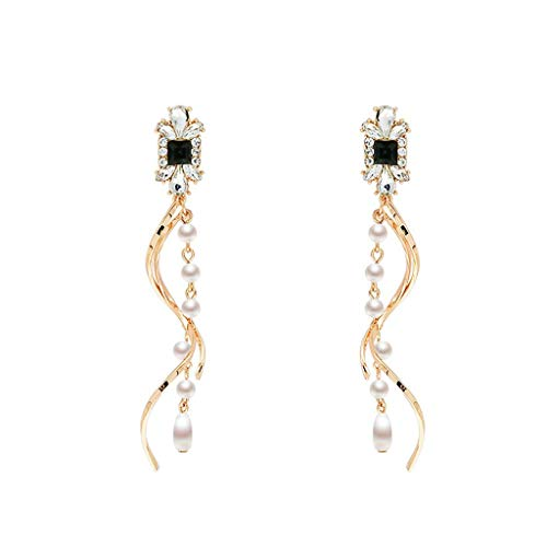 Heberry Ladies Earrings Glitter Dangle Studs Long Section Pearl Black and White Diamond Curved Earrings Jewelry
