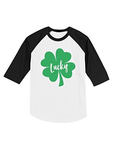 Irish Lucky Clover St. Patrick's Day Toddler Raglan 3/4 Sleeve Baseball Tee 6T Black/White -