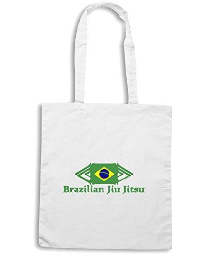 T-Shirtshock - Bolsa para la compra TAM0014 brazilian jiu jitsu green hoodie dark Blanco