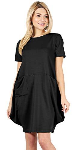 Black Casual Dresses for Women Oversized Black Dress Black Bubble Dress Black Loose Fit Dress Short Sleeve Black Dress (Size Large US 10-12, Black)