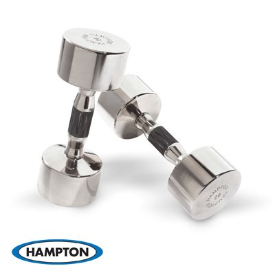Hampton 5 lb. Solid Steel Hard Chrome Dumbbell w/ Ergonomic urethane inlaid handle, pr.