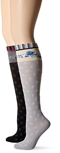 K. Bell Women's Textured Knee High Socks with Stripe and Patterned Top, Black Sleet,