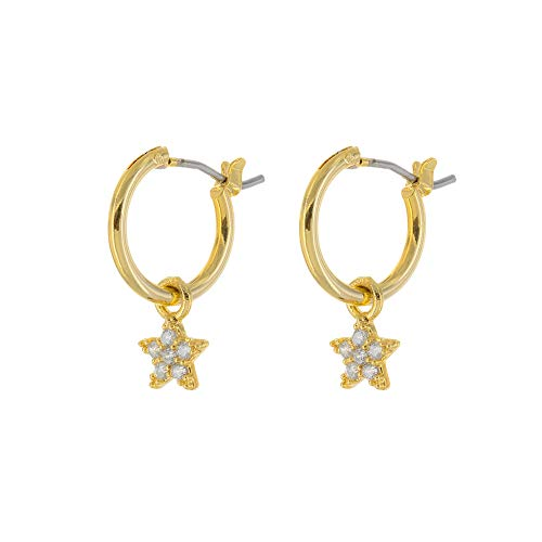 (Columbus 14K Gold Plated Charm Hoop Earrings - Dangle Earrings - Moon, Star, Lightning Bolt, and Cross Drop Earrings - Small Hoops (Gold Stars))