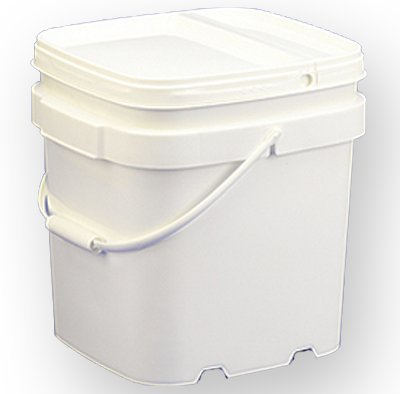 6.5 gal.Square Ez Stor Bucket Pail and Lid w/handle, 6 Pack