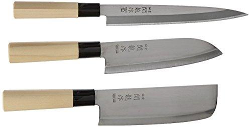 Happy Sales HSKN-3KN01, Set of 3 Japanese Sushi Chef Knives - Sashimi-Santoku-Nakiri Knife