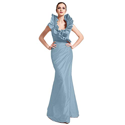 - TS Women's Mermaid Trumpet V Neck Floor Length Taffeta Formal Evening Dress with Side Draping Ruffles Sky Blue