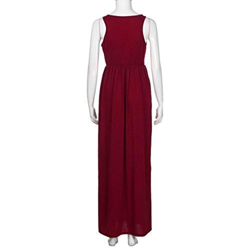 Largo Vestido Mujer Sundrss L Playa Maxi Lady Casual Bohemio Gris Verano LMMVP Vino sólido Vestidos Vestido Mujer wdI1vqXX