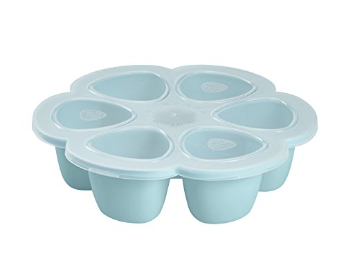 Multiportion Freezer Tray - BEABA Silicone Multiportions Baby Food Tray, Oven Safe, Made in Italy, Sky, 5 oz