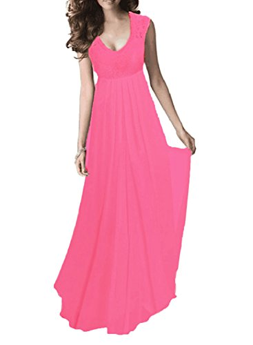 SYLVIEY Women's Vintage Lace V Neck Sleeveless Maxi Bridesmaid Evening Dress (X-Large, Rose Red)