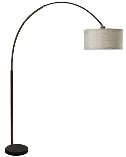 SH Lighting 6938 Brush Steel Arching Floor Lamp with Marble Base - Features Large Drum Style Shade - 81'' Tall Fits in Living or Bedrooms (Espresso)