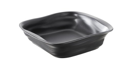 Revol 646289 Froisses Crumple Square Dish, 9.75 by 9.80-Inch, Satin Black