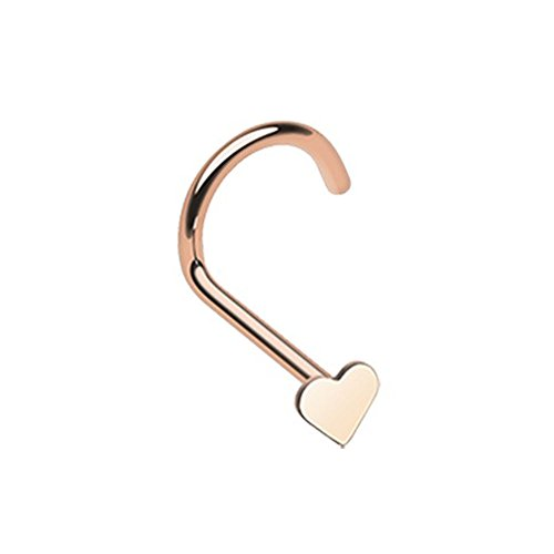 - 20G Rose Gold Heart Nose Screw Ring