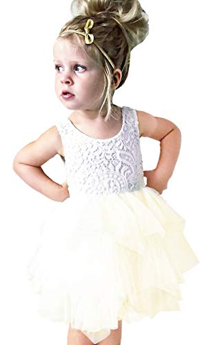 2Bunnies Girl Beaded Peony Lace Back A-Line Tiered Tutu Tulle Flower Girl Dress (No Applique Ivory, 12 Months)