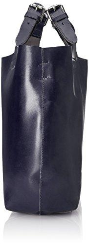 Pelle Spalla Scuro Mano Italy a Blu Vera 44x30x13cm in 100 e Donna da CTM Borsa Made TqwZY4xz
