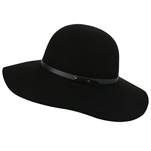 Sedancasesa Wide Brimmed 100% Wool Felt Floppy Hat Vintage Women Warm Triby Hats (Black) - Felt Floppy Hat