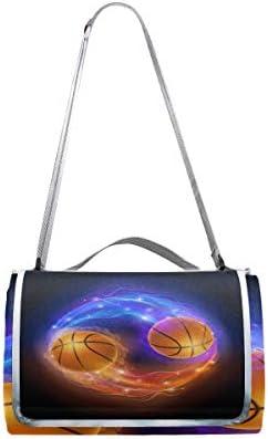 jeansame Vintage Basketball Sport Picnic Mat Coperta da Picnic, da Campeggio per Outdoor Viaggio Yoga Escursionismo Impermeabile Portatile Pieghevole 150x 145cm