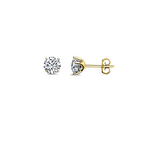 14K Solid Gold Solitaire Round Cubic Zirconia Stud Earrings With Butterfly Backings, Size 3MM-8MM (Yellow Gold, 6) ()
