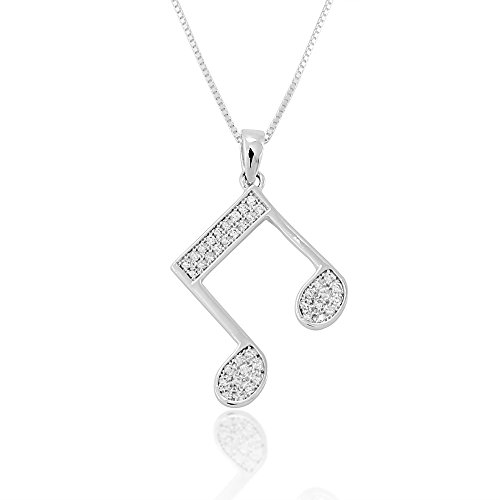 925 Sterling Silver Clear Cubic Zirconia CZ Quavers Music Note Pendant Necklace, 18 inches