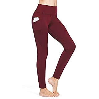 BALEAF Women's Fleece Lined Leggings Winter Thick Warm Thermal High Waisted Pocketed Pants Ruby-Wine S