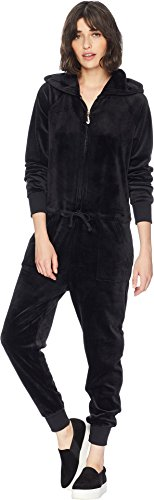 - Juicy Couture Women's Track Luxe Velour Jumpsuit w/Charm Pull Pitch Black X-Large