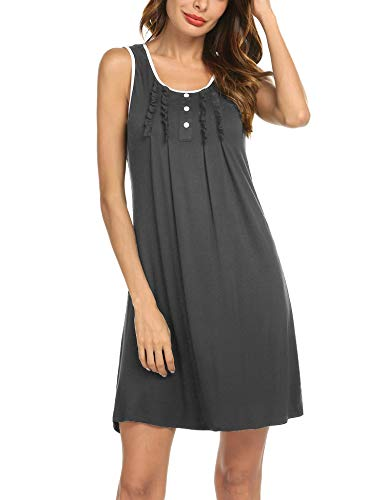 Hotouch Womens Nighties Cotton Ladies Nightshirts Sleeveless for Nightwear Grey XL by Hotouch