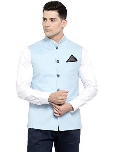 Pastel Ethnic Bandhgala Jodhpuri Nehru Jacket Vest Waistcoat - 4 Colours Blue ()