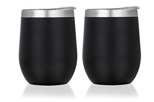 SIPS -Insulated Wine Tumbler with Lid- Pack of 2 Wine Glasses of 12 OZ - Double Wall Vacuum Insulated Travel Tumbler Cup for Coffee, Wine, Cocktails, Ice Cream - Food Grade Stainless Steel - Black]()